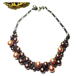 Coldwater Creek Bronze Pearl Necklace